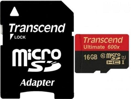 Карта памяти Transcend microSDHC Ultimate 600X Class 10 UHS-1 U1 (90/45MB/s) 16GB + ADP фото