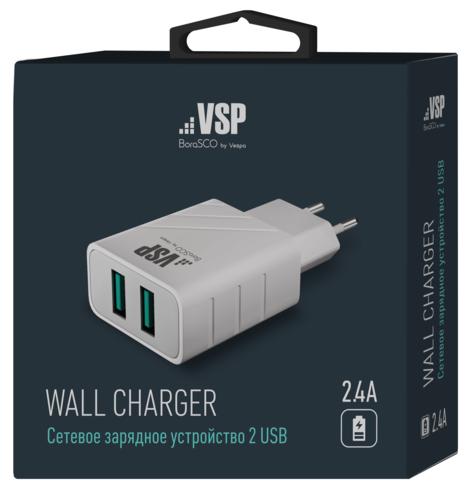 СЗУ адаптер 2 USB 2.4A белый, BoraSCO фото