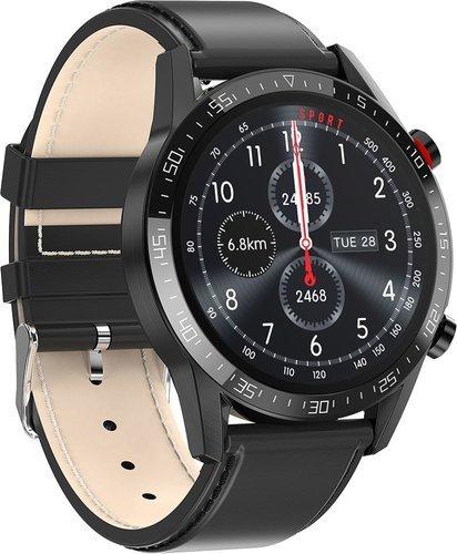 Умные часы Bakeey L13, кожаный ремешок, черный фото