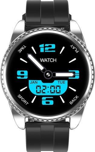 Умные часы Lynwo BT01, силиконовый ремешок, серебристый/черный фото