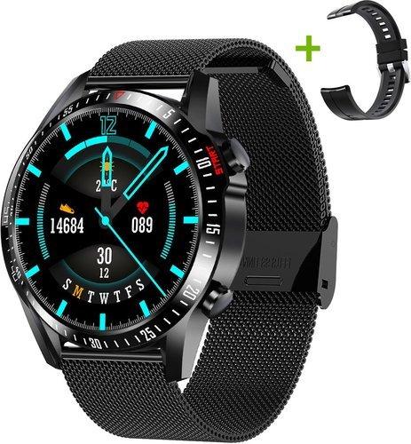 Умные часы Bakeey CK29S стальной и силиконовый ремешок, черный фото