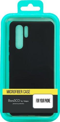 Чехол-накладка для Xiaomi Redmi Note 9 черный, Microfiber Case, Borasco фото