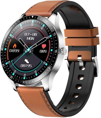 Умные часы Senbono S80, кожаный ремешок, коричневый фото