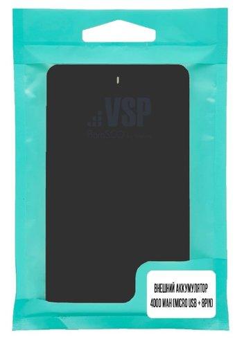Внешний аккумулятор Borasco 4000 mah (micro USB + 8pin), черный фото