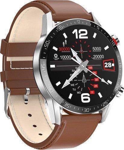 Умные часы Bakeey L13, кожаный ремешок, коричневый фото