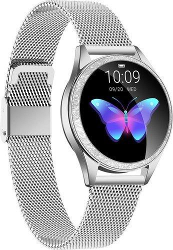 Умные часы Kingwear KW20, стальной ремешок, серебристый фото