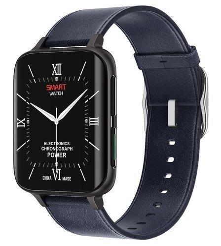 Умные часы DT No.1 DT93, кожаный ремешок, черный/синий фото