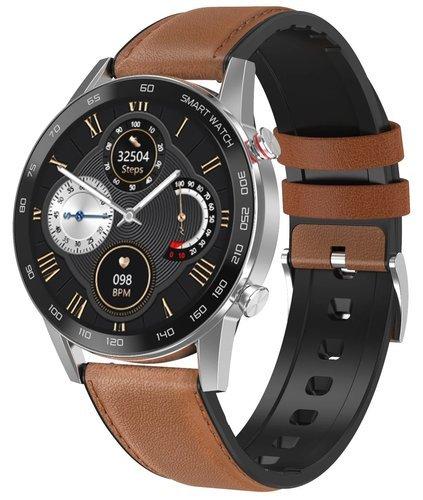 Умные часы DT No.1 DT95, кожаный ремешок, серебристый/коричневый фото
