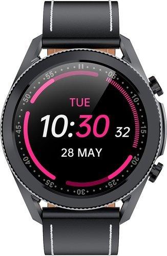 Умные часы Bakeey I12, кожаный ремешок, черный фото