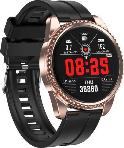 Умные часы Lynwo BT01, силиконовый ремешок, золотой/черный фото