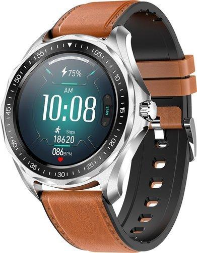 Умные часы Senbono S09 Plus, кожаный ремешок, коричневый фото