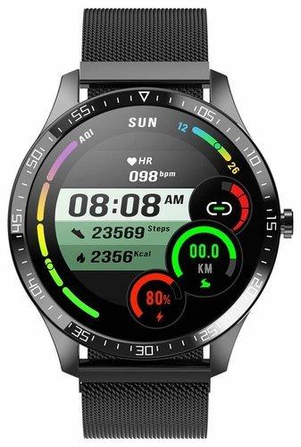 Умные часы Senbono S82, стальной ремешок, черный фото