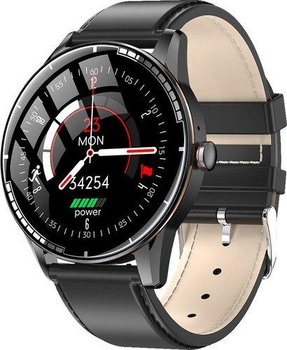 Умные часы Bakeey H6, кожаный ремешок, черный фото