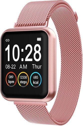 Умные часы Bakeey P90, стальной и силиконовый ремешок, розовый фото