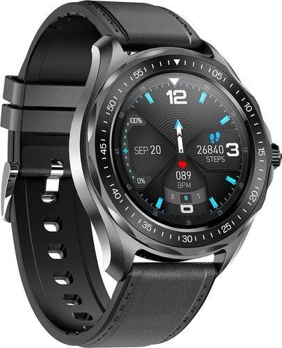 Умные часы Senbono S09 Plus, кожаный ремешок, черный фото