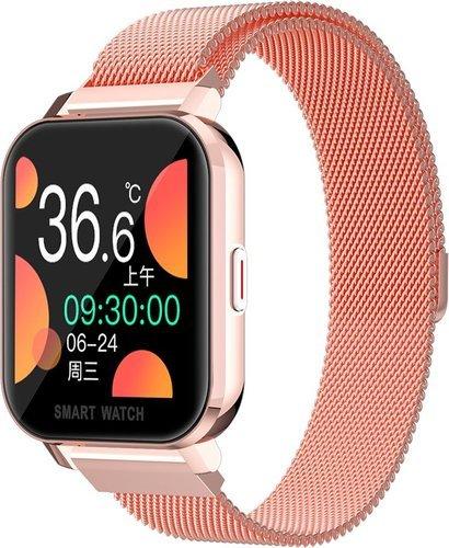 Умные часы Bakeey MT28, стальной ремешок, розовый фото