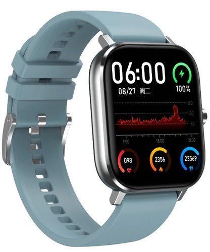 Умные часы DT No.1 DT35, силиконовый ремешок, голубой фото