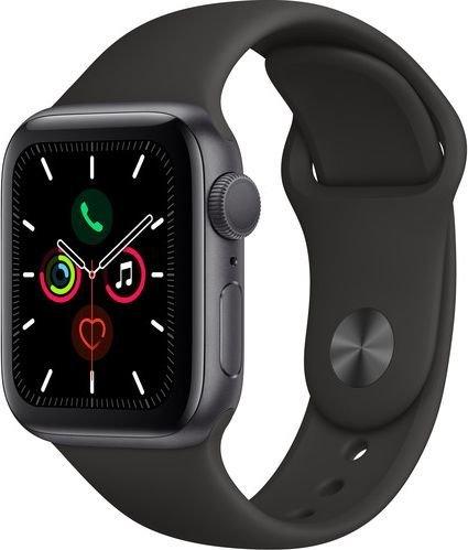 Умные часы Apple Watch Series 5 44мм, корпус из алюминия цвета «серый космос», спортивный браслет чёрного цвета фото