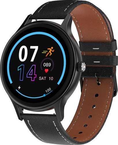 Умные часы DT No.1 DT66, кожаный ремешок, черный фото