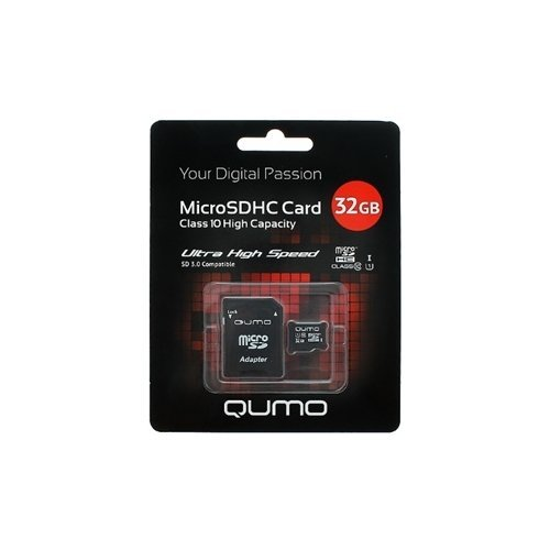 Карта памяти Qumo microSDHC 32GB Class 10 UHS-I U1 + ADP фото