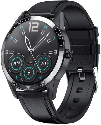 Умные часы Bakeey G20 Pro, кожаный ремешок, черный фото