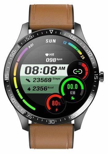 Умные часы Senbono S82, кожаный ремешок, коричневый фото
