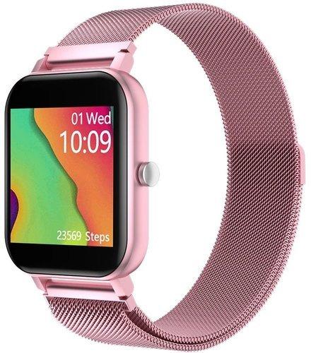 Умные часы Bakeey MC28, металлический ремешок, розовый фото