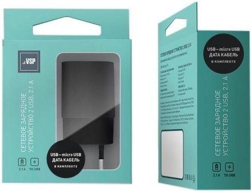 СЗУ адаптер 2 USB 2.1A + Дата-кабель Micro USB 2А (100 см) черный, BoraSCO фото