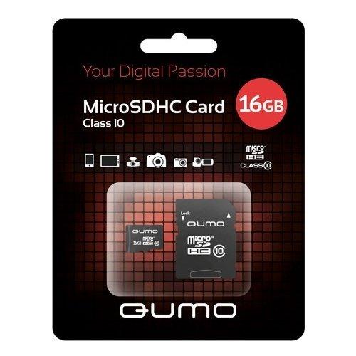 Карта памяти Qumo microSDHC 16GB Class 10 + ADP фото