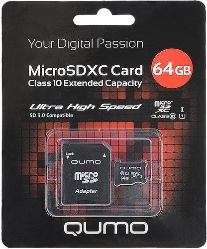 Карта памяти Qumo microSDXC Class 10 64GB + ADP фото