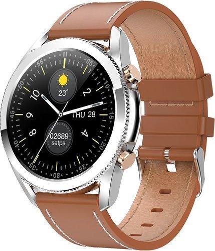 Умные часы Bakeey I12, кожаный ремешок, коричневый фото