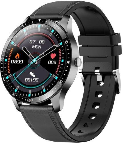 Умные часы Senbono S80, кожаный ремешок, черный фото