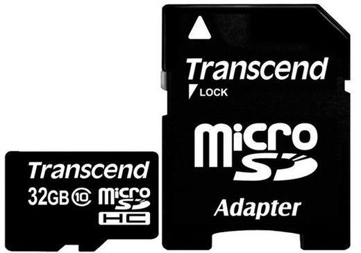 Карта памяти Transcend microSDHC Premium 200X Class 10 (20/10/MB/s) 32GB + ADP фото