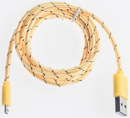 Кабель Prolike USB Micro 5 pin AM-BM нейлоновая оплетка, 1,2 м, желтый фото