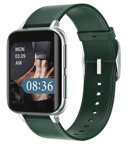 Умные часы DT No.1 DT93, кожаный ремешок, серебристый/зеленый фото