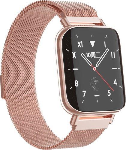"""Умные часы 1.54"""", металлический ремешок, розовый фото"""