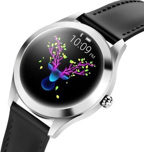 Умные часы Kingwear KW10, кожаный ремешок, черный фото