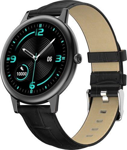 Умные часы Bakeey E10, кожаный ремешок, черный фото