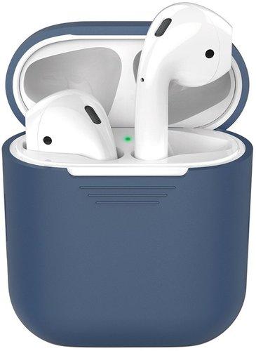 Чехол силиконовый Deppa для наушников Apple AirPods 1/2, синий фото