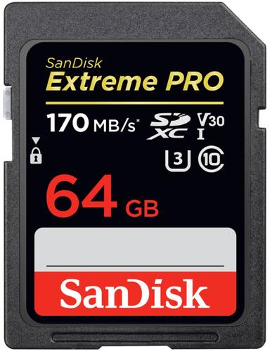 Карта памяти SanDisk SDXC Extreme Pro Class 10 UHS-I U3 (170/90MB/s) 64GB фото