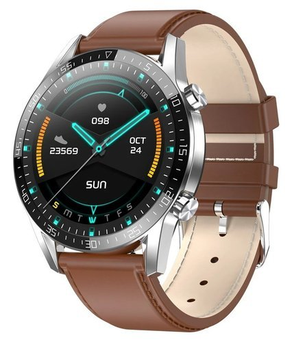 Умные часы Microwear T03, кожаный ремешок, коричневый фото