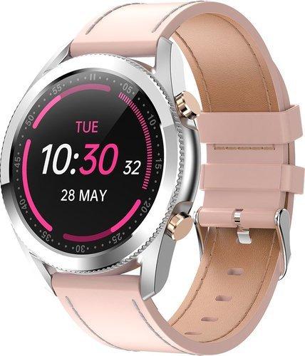 Умные часы Bakeey I12, кожаный ремешок, розовый фото