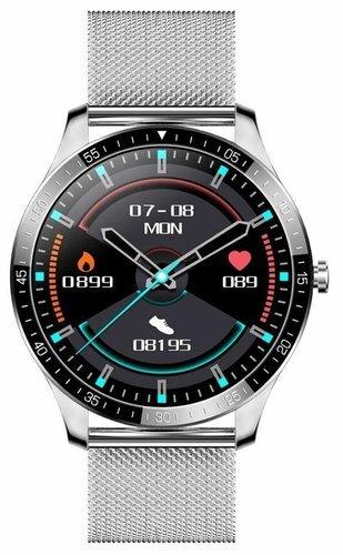 Умные часы Senbono S82, стальной ремешок, серебристый фото