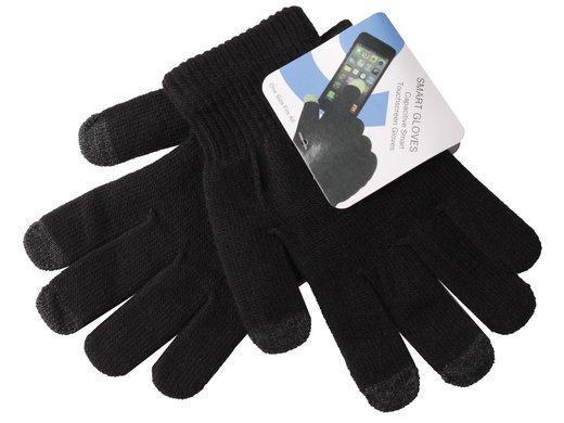 Перчатки для пользования телефонами с сенсорными экранами, универсальный размер M/L, черные (темно-серый палец) фото