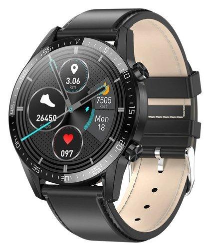 Умные часы Microwear T03, кожаный ремешок, черный фото