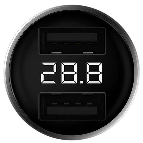 АЗУ Xiaomi ZMI Digital Display Car Charger QC 3.0 18W 2USB (AP621) серебристый фото