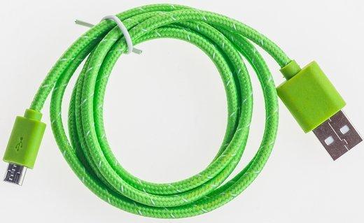 Кабель Prolike USB Micro 5 pin AM-BM нейлоновая оплетка, 1,2 м, зеленый фото