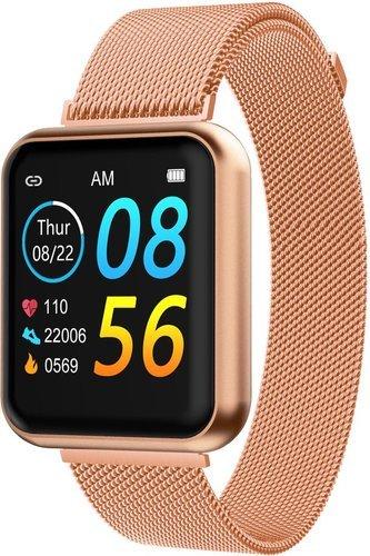 Умные часы Bakeey P90, стальной и силиконовый ремешок, розовое золото фото