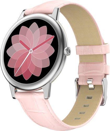 Умные часы Bakeey E10, кожаный ремешок, розовый фото