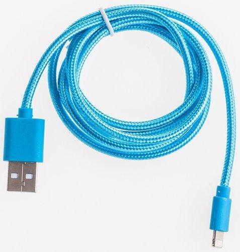 Кабель Prolike USB - 8 pin нейлоновая оплетка, 1,2 м, голубой ( Lightning ) фото